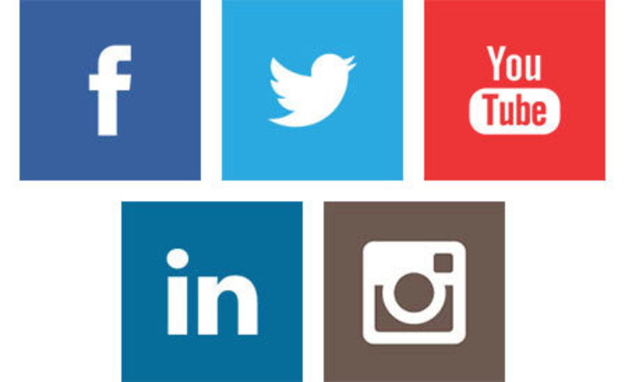 side-by-side, stacked logos of Facebook, Twitter, YouTube, LinkedIn, and Instagram
