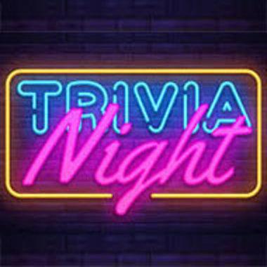 neon Trivia Night sign on dark background of bricks