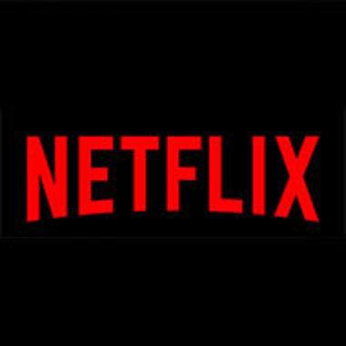Netflix logo in red on black background