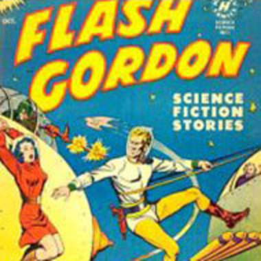 Flash Gordon comic cover art with Gordon saving a woman in what looks like a setting in space