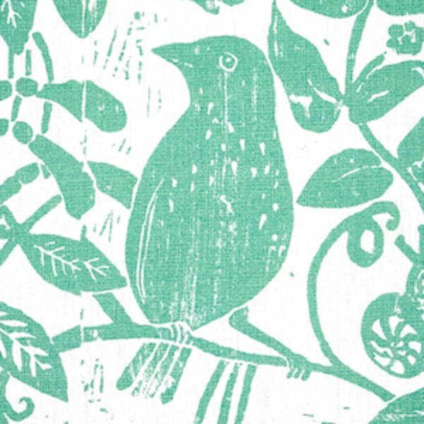 Schumacher Bird & Bee fabric swatch in Sea Glass