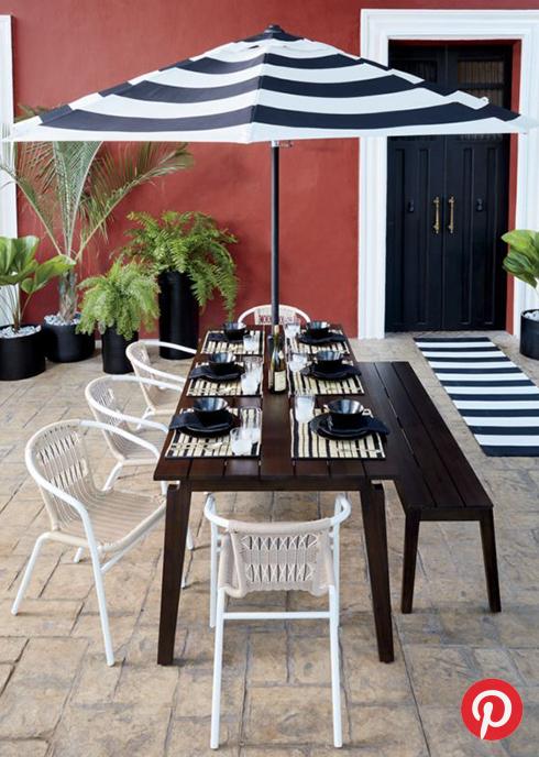 A black and white patio set