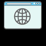 Web browser displaying a globe icon