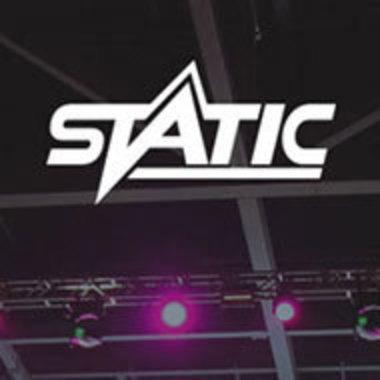 STATIC logo on auditorium ceiling background