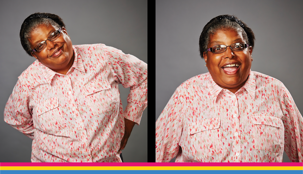 Two portraits side-by-side. Cindy, a dark-skinned adult with a pink button up shirt, smiles and leans to the side (left) and opens her mouth in an expression of surprise (right).