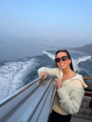 Maeve O'Malley poses on a boat