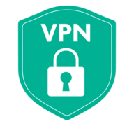 """Shield that says """"VPN"""" and includes a closed lock"""