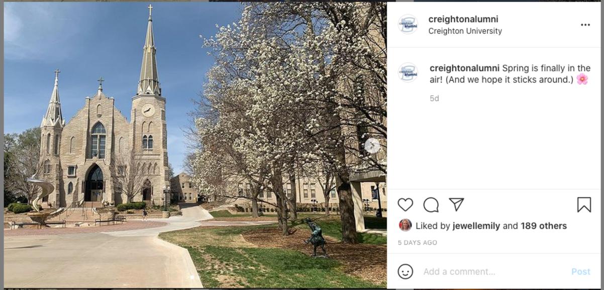 Creighton alumni instagram post