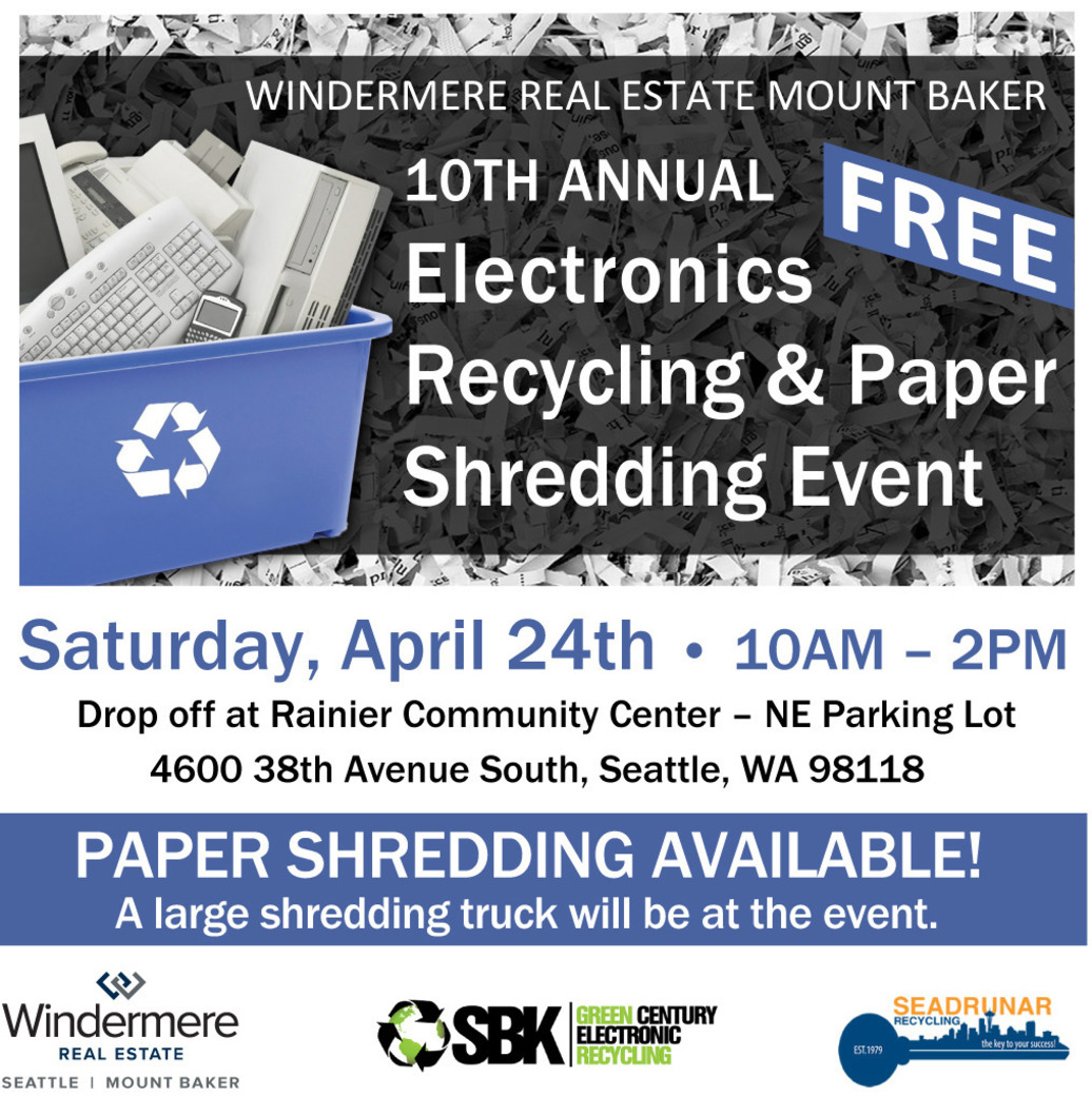 Electronics Recycling & Paper Shedding Event 4/24 10AM - 2PM