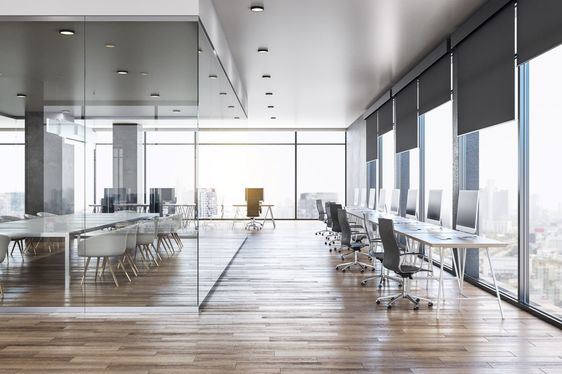 A sleek office space
