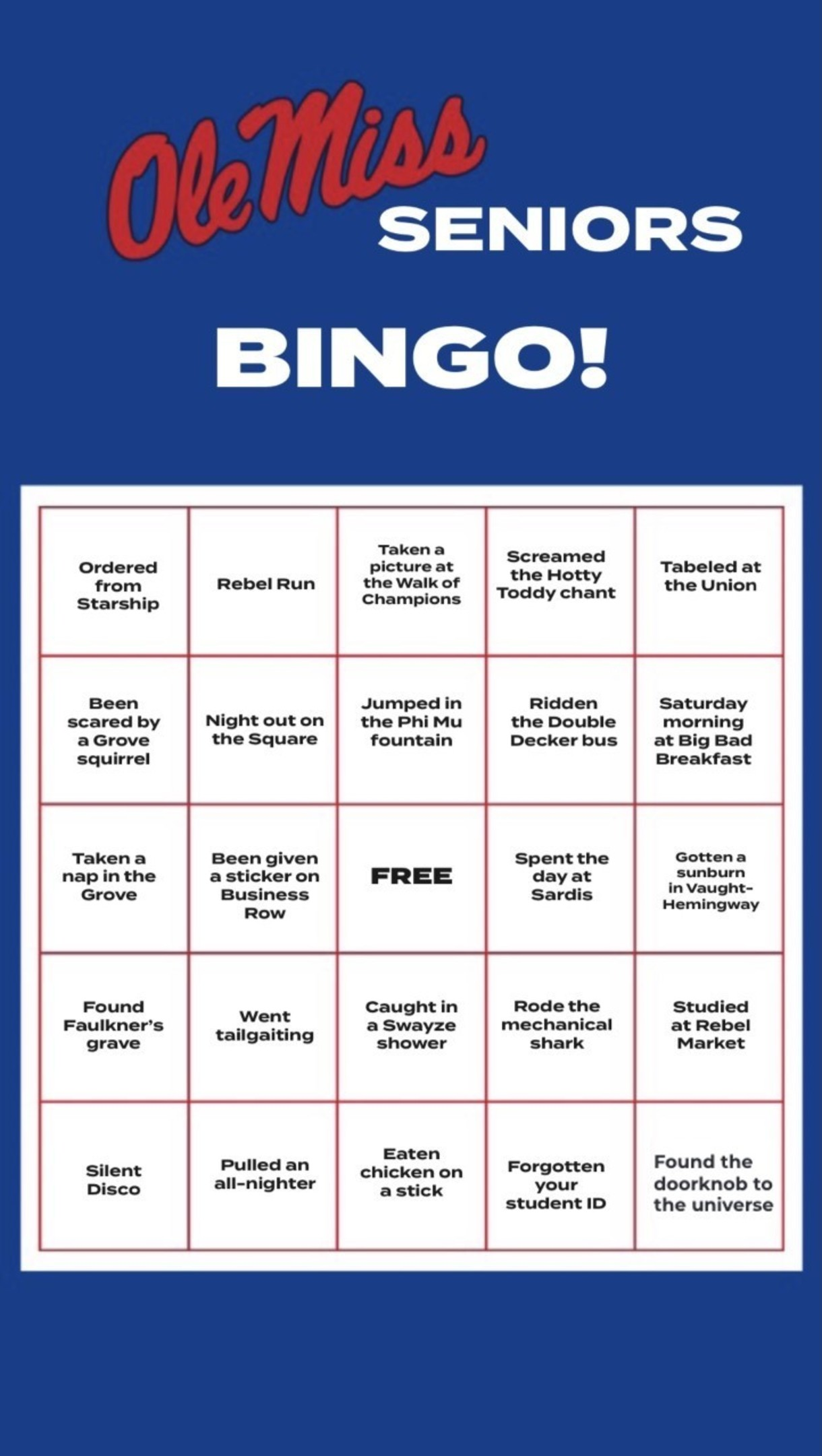 Graphic that reads Ole Miss Seniors Bingo with a series of bingo selections in a grid format