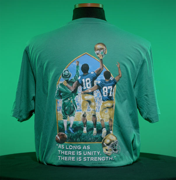 Back of T-shirt, that says,