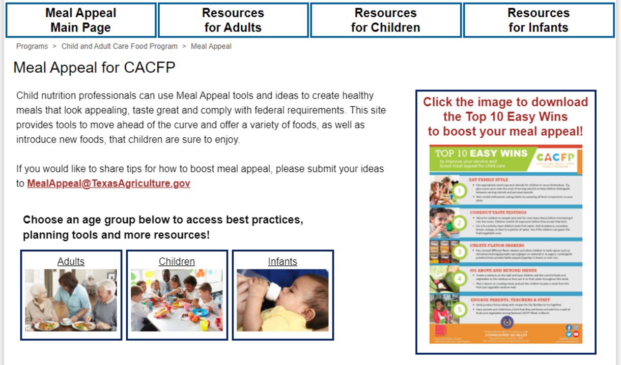 Meal Appeal for CACFP