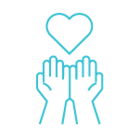 blue hands holding heart icon