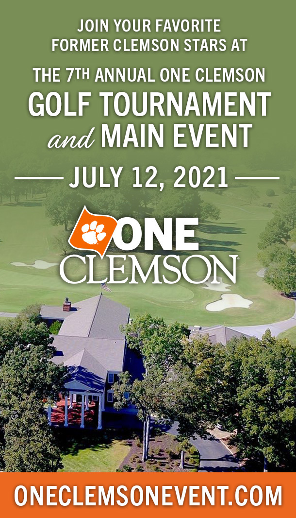 Join your favorite former Clemson stars at the 7th annual ONE Clemson Golf Tournament and Main Event July 12, 2021 ONE Clemson OneClemsonEvent.com