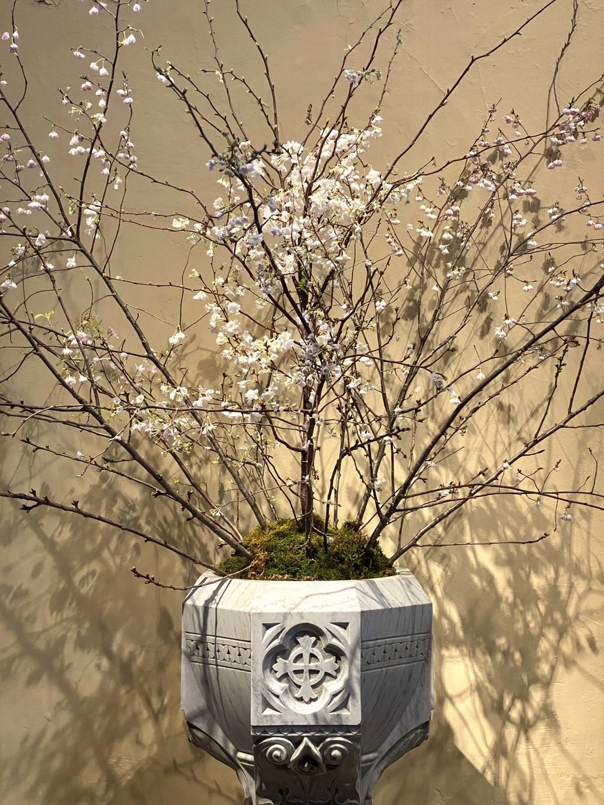 Font bedecked with Easter branches and flowers