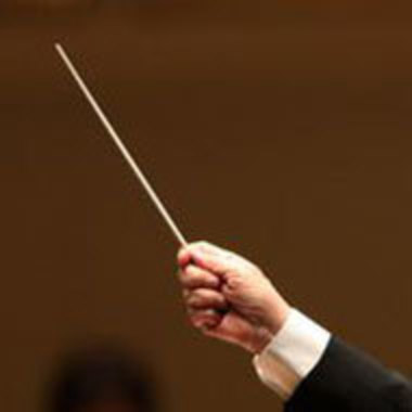 closeup of a conductor's hand during a performance