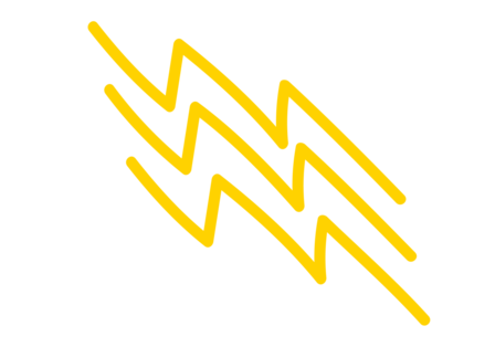 A yellow lightning bolt in a hand drawn style