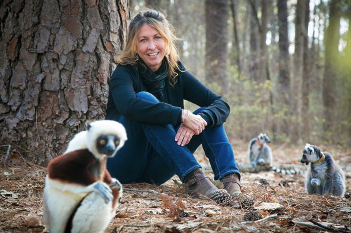 Anne Yoder, Ph.D., in the forest with a sifaka and two ring-tailed lemurs