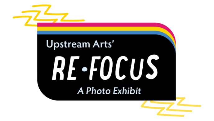 logo for ReFocus: A Photo Exhibit. Black with rainbow stripes and lightning bolt.