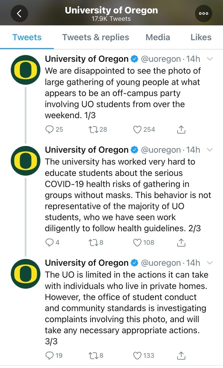 UO twitter statement on parties