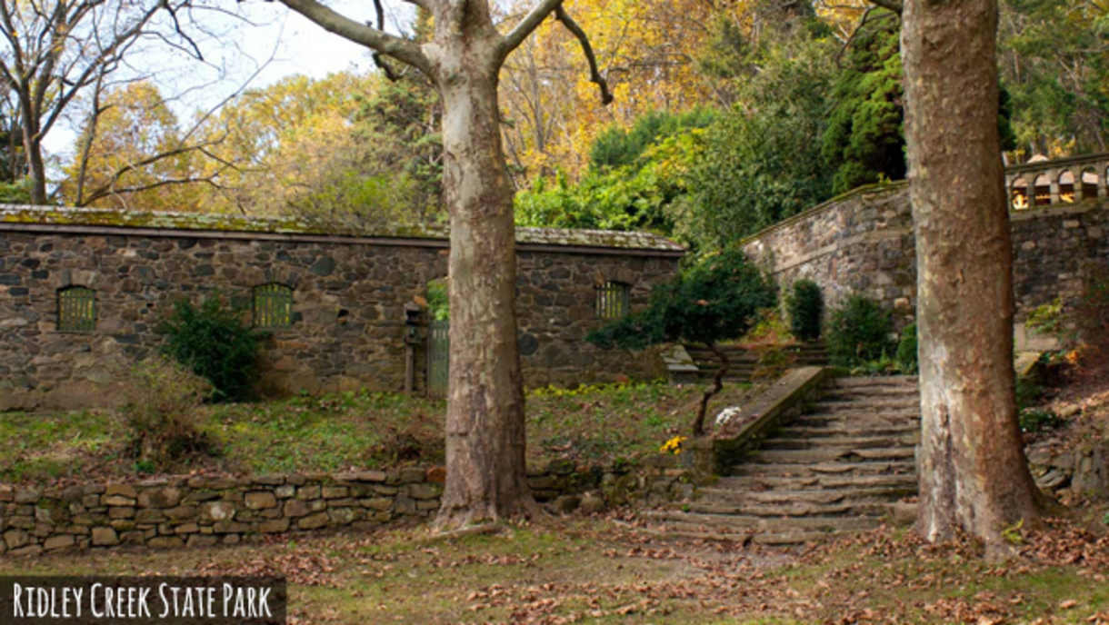 Beautiful old stone architecture and trees along the walkways through Ridley Creek State Park