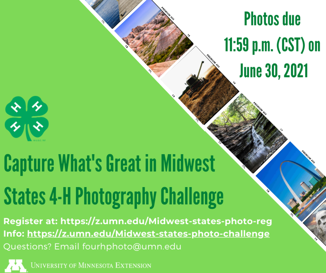 Picture display for the Midwest States 4-H Photography Challenge