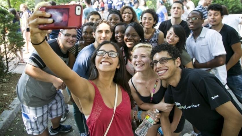 Students take a selfie at Matriculaiton