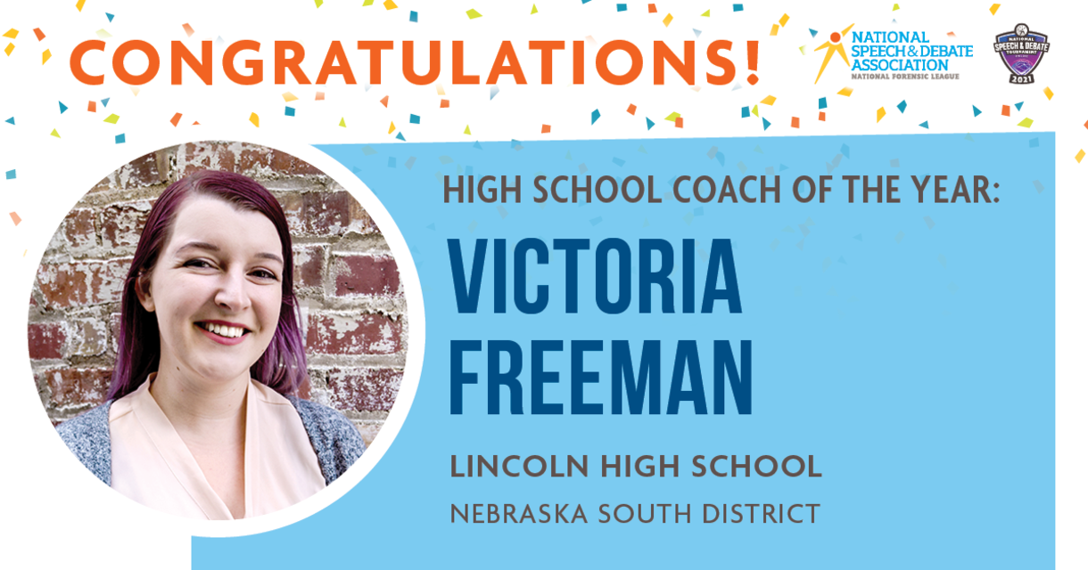 Congratulations! High School Coach of the Year: Victoria Freeman, Lincoln High School, Nebraska South District