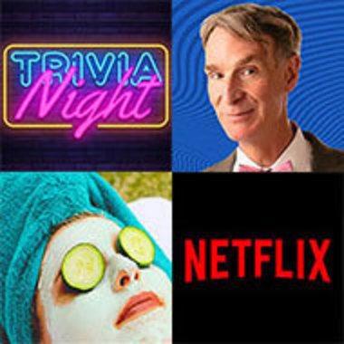 images representing past STATIC events, clockwise from top left, Trivia Night logo, Bill Nye, Netflix logo, and woman with mud mask for spa day