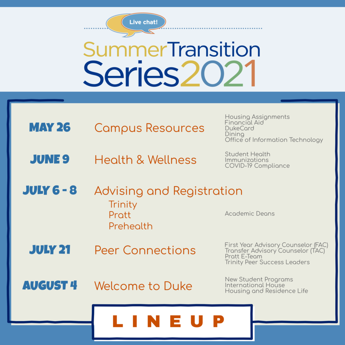 flyer with summer transition series 2021 logo and outlined schedule