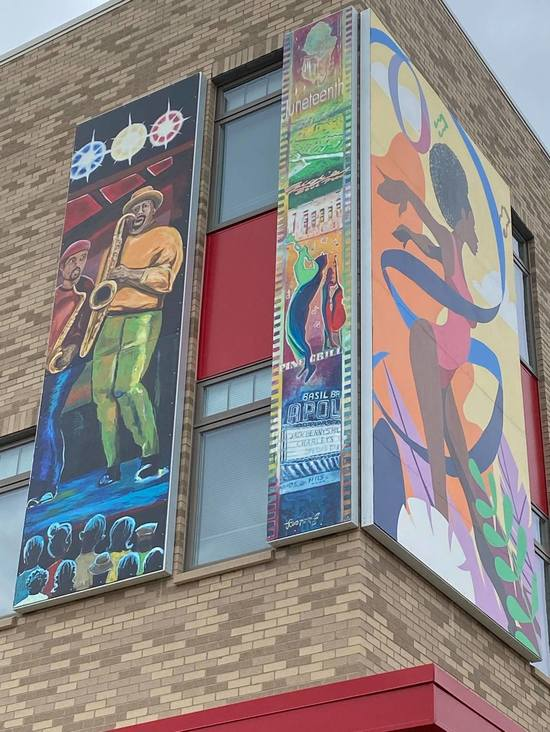 Two of the colorful murals at Jefferson Apartments.
