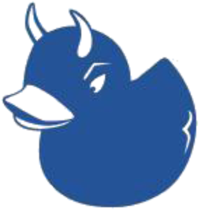 blue rubber duck with devil horns