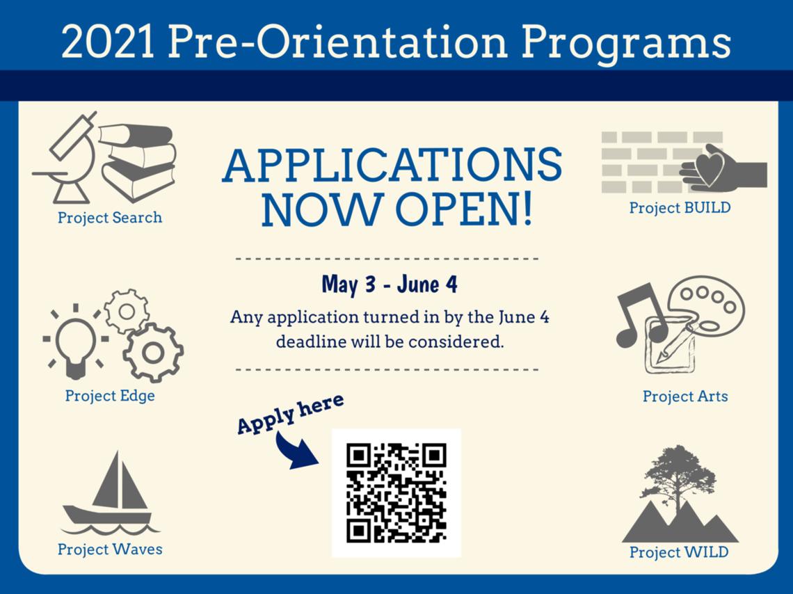 Pre-Orientation Program application flyer. Applications now open. May 3 - June 4