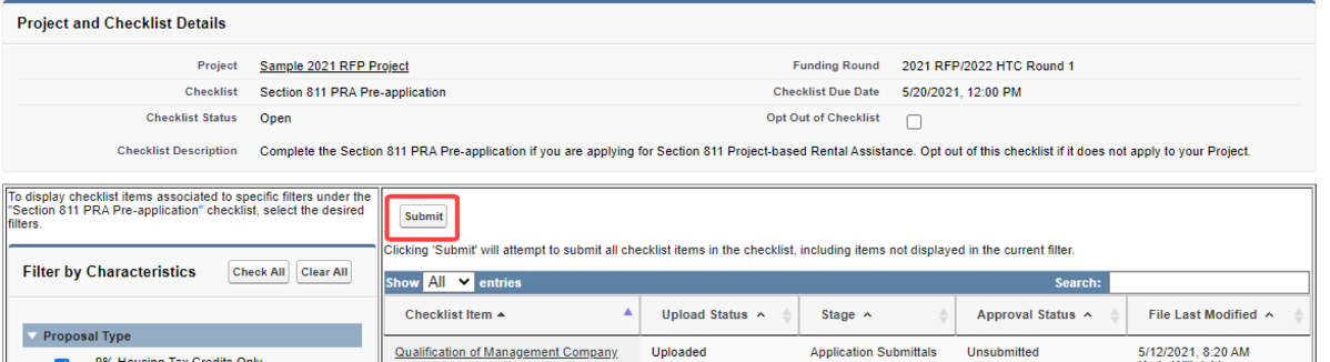 Picture of Multifamily Customer Portal screen showing applicants how to successfully submit a Section 811 PRA pre-application