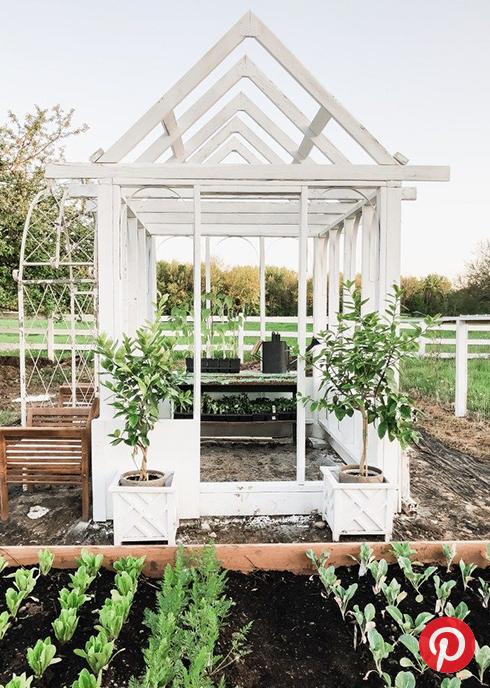 A rustic white greenhouse