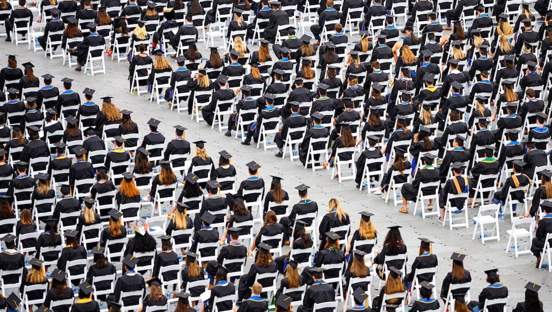 Photo of class of 2021 graduates in seats in Notre Dame Stadium