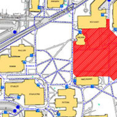 closeup of campus map showing regular buildings in yellow and construction area in red