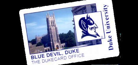 Example DukeCard with white background, picture of DukeChapel, square profile picture of Blue Devil mascot