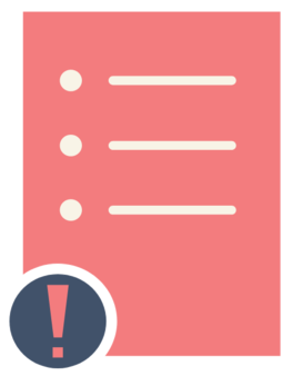 pink letter with three white, blank bullet points and an exclamation point in the bottom left corner