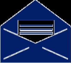 Blue envelope with blank letter inside