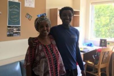 Photo of Maamoon Saleh '21 and his mother