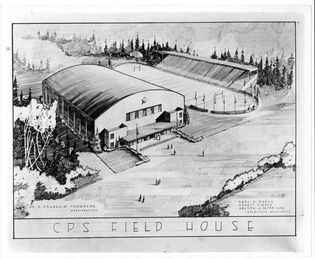 Architectural drawing of the Memorial Fieldhouse, circa 1948