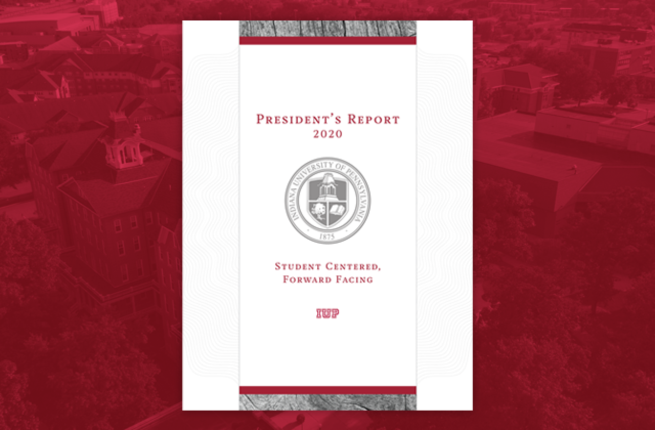 2020 President's Report cover on a background of IUP scenery in crimson