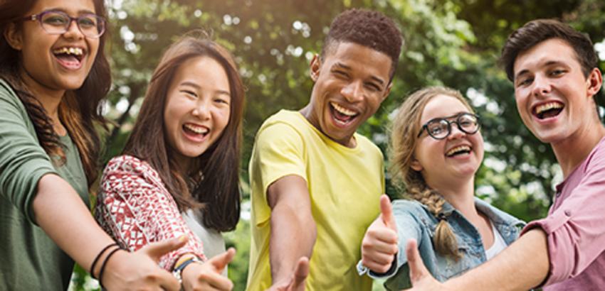 Five smiling teens giving thumbs up sign, link to information about Library Connect