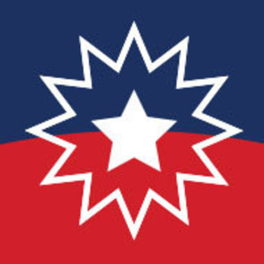 detail of a graphic based on the Juneteenth flag
