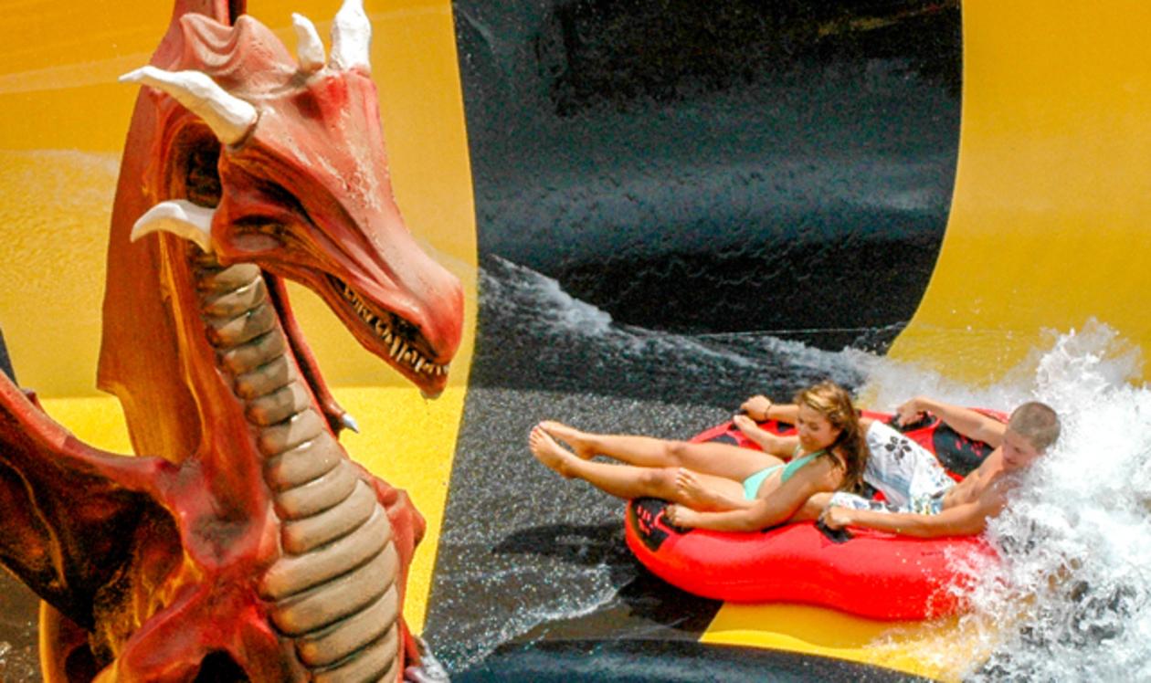 People smiling at Raging Waters amusement park