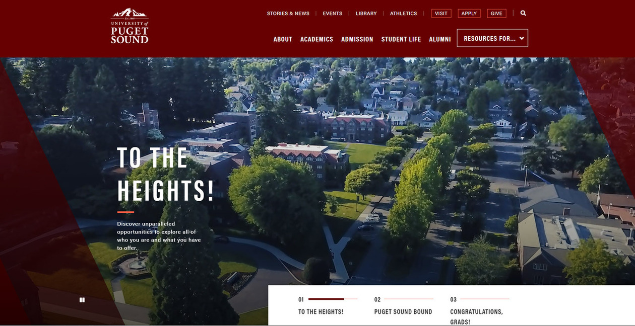 Screenshot of the new home page