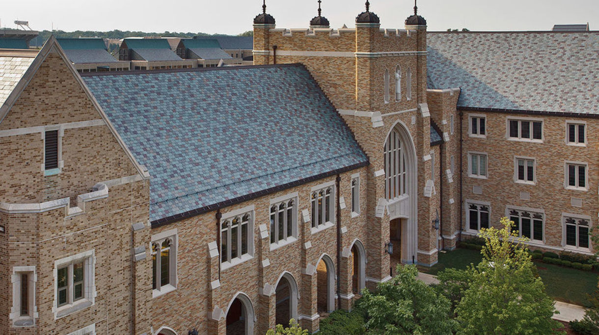 Photo of Eck Haw School and Notre Dame.