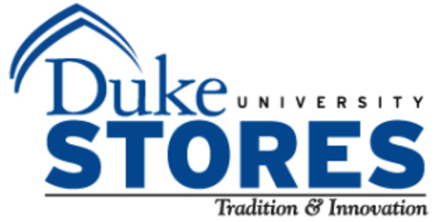 White background with blue text reading Duke University Stores: Tradition and Innovation